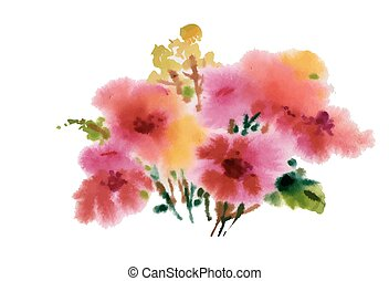 Hand drawn pink flowers isolated on white background