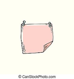 Hand drawn pink note paper pinned on wall vector illustration in sketch or doodle style isolated on white background. Blank things to do note list, diary or note page.