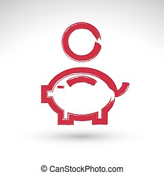 Hand drawn pink piggybank icon, brush drawing coin bank sign, hand-painted simple piggy isolated on white background.