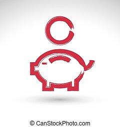 Hand drawn pink piggybank icon, brush drawing coin bank sign...