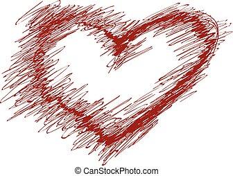 hand-drawn, pintado, coração vermelho, elemento, para, seu, desenho
