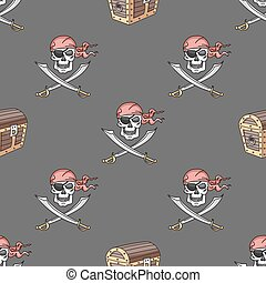 Hand drawn pirate seamless pattern