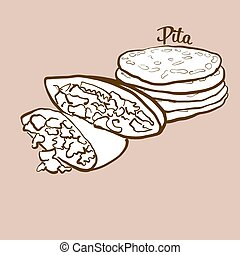 Hand-drawn Pita bread illustration. Flatbread, usually known...