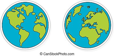 Hand drawn planet earth vector sign