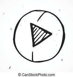 Hand drawn play button