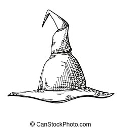 Hand drawn pointed cap isolated on white background. Vector illustration of a sketch style.