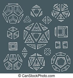 hand drawn polyhedrons collection - vector white outline...