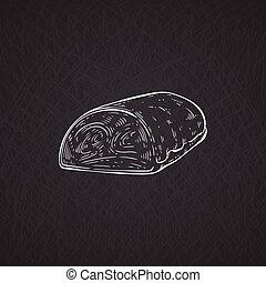 Hand drawn pork tenderloin or beef fillet. Pig meat for ...