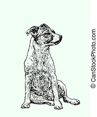 hand drawn portrait of a cheerful dog . vector illustration.