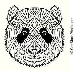 Hand drawn portrait of Panda. Black and white vector doodles isolated on white background. Sketch for tattoo, poster, print or t-shirt. Relaxing coloring book for adult and older children.