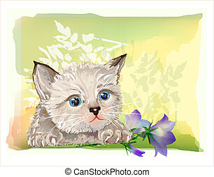 hand drawn portrait of the fluffy kitten  with bluebell