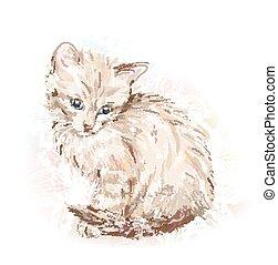 hand drawn portrait of the kitten