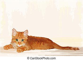 hand drawn portrait of the lying ginger kitten