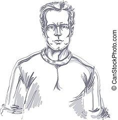 Hand-drawn portrait of white-skin confident calm man, face...