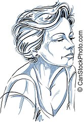 Hand-drawn portrait of white-skin sad woman, face emotions...