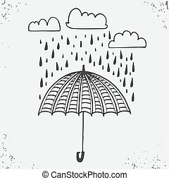 Hand drawn poster with umbrella, clouds and raindrops. Stylish typographic poster design. Used for greeting cards, posters and print invitations. typographic design. Vector illustration.