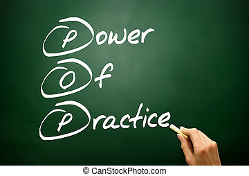 Hand drawn Power Of Practice (POP), business concept on ...