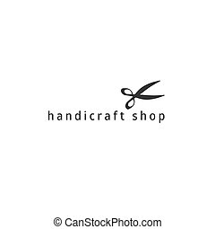 Hand drawn premade vector logo template with scissors....