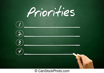 Hand drawn Priorities blank list concept on blackboard