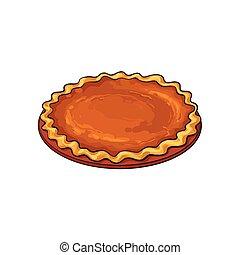 Hand drawn pumpkin pie, thanksgiving symbol, food