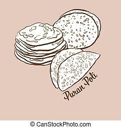 Hand-drawn Puran Poli bread illustration. Flatbread, usually...