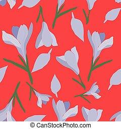 Hand drawn purple crocus on red background seamless pattern