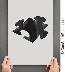 hand drawn puzzle sign on paper poster as partnership concept