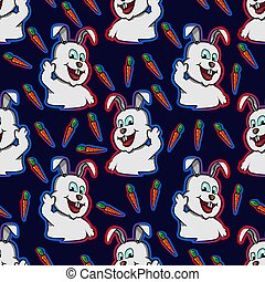 hand drawn rabbit happy waving hand , funny bunny carrot seamless pattern