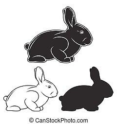 Hand drawn rabbit set. Vector illustration