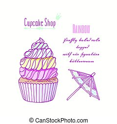 Hand drawn rainbow cupcake with doodle buttercream for...