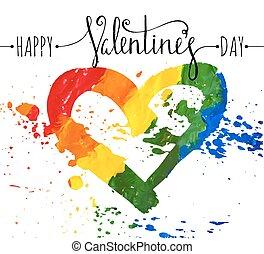 Hand-drawn rainbow heart.