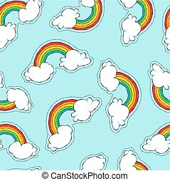 Hand drawn rainbow patch icon seamless pattern