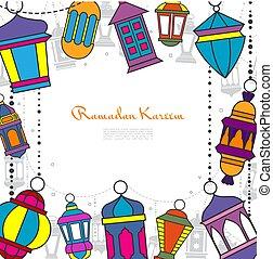 Hand Drawn Ramadan Kareem Greeting Template