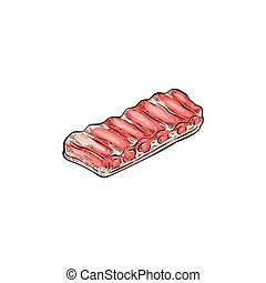 Hand drawn raw pork back ribs for barbecue cooking. - Hand ...
