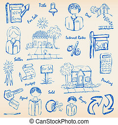 Hand Drawn Real Estate Icon Set