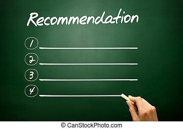 Hand drawn Recommendation blank list concept on blackboard