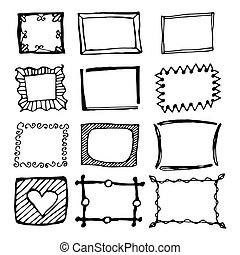 Hand drawn rectangle frames set