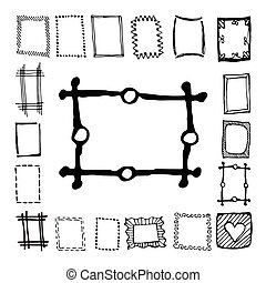 Hand drawn rectangle frames set. Cartoon vector square...