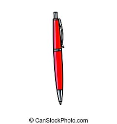 Hand drawn red ball point pen, office supply, writing...