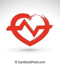 Hand drawn red heart icon, brush dr