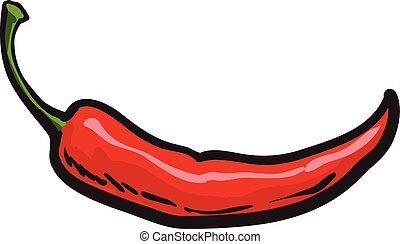 Hand drawn red hot chili pepper isolated on white background