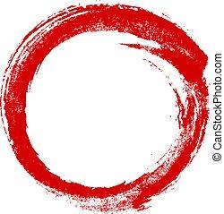 Hand drawn red ink grunge circle frame