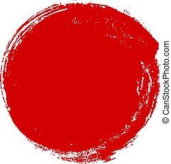 Hand drawn red ink grunge circle on white background