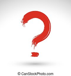 Hand drawn red question mark icon, brush drawing query sign, ori