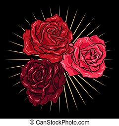 Hand drawn red roses with gold rays. Vector illustration  in tattoo style.