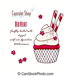 Hand drawn red velvet cupcake with doodle buttercream for...