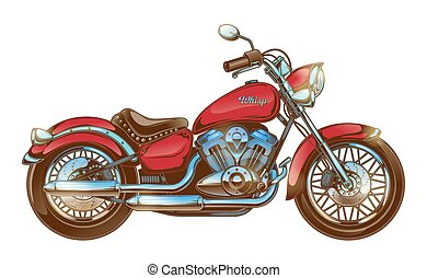Hand-drawn red vintage motorcycle. Classic chopper.