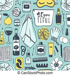 Hand drawn relax seamless pattern. Actual vector drawing background with beauty products, wine, food, book