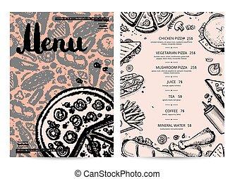 Hand drawn restaurant menu design