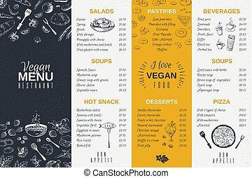Hand drawn restaurant menu. Food cooking vintage template, doodle breakfast and diner cafe flyer. Vector menu card poster design
